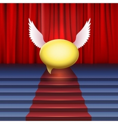 Stage with red carpet and bubble with wings vector