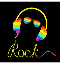 Rainbow headphones cord rock glasses vector
