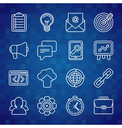 Flat icon set of seo symbols vector