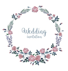 Watercolor wreath with roses and grass vector