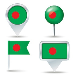 Map pins with flag of bangladesh vector