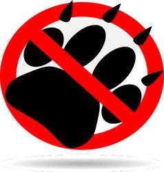 Ban foot print animal vector image