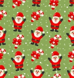 Seamless christmas pattern with santa claus snow vector