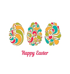 Greeting card with doodle full color easter eggs vector