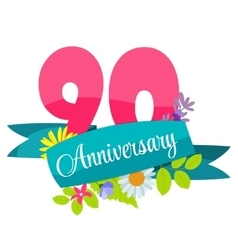 Cute template 90 years anniversary sign vector