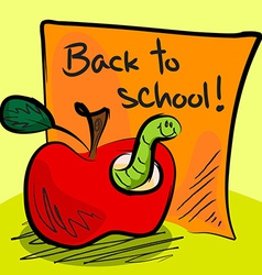 Back to school worm in apple vector image