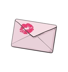 Backside of pink envelope with red lipstick kiss vector