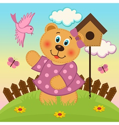 bear girl feeding birds vector image vector image