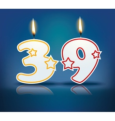 Birthday candle number 39 vector image vector image