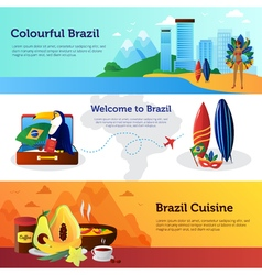 Brazil Travel Flat Horizontal Banners Set vector image