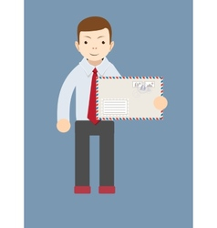 Businessman delivering mail vector