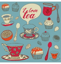 Card with tea and cupcakes vector image