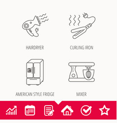 Curling iron hair dryer and blender icons vector