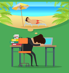 Dreams of vacation concept in flat design vector