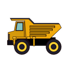 dump truck flat icon colorful silhouette vector image vector image
