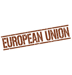 European union brown square stamp vector