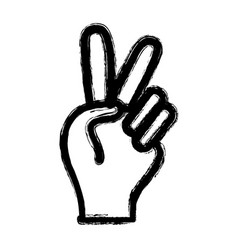 figure nice hand with peace and love symbol vector image vector image