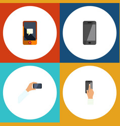 flat icon touchscreen set of telephone chatting vector image vector image