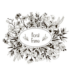 Floral frame with flowers branches leaves vector