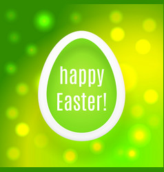 happy easter egg on green background with bokeh vector image