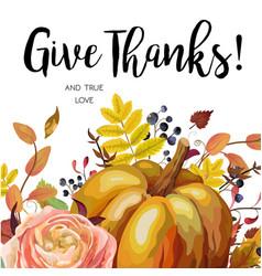 Happy thanksgiving greeting pumpkin fall leaves vector