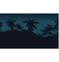 Landscape jungle with palm tree silhouette vector