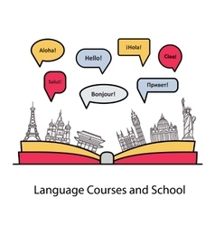 Logo for the language courses and schools vector