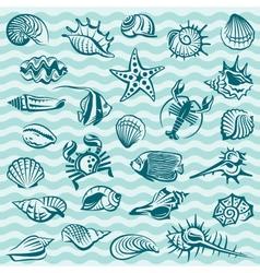 Marine life set vector