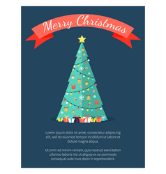 Merry christmas poster with decorated tree by vector