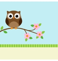 Owl on blooming branch vector image vector image