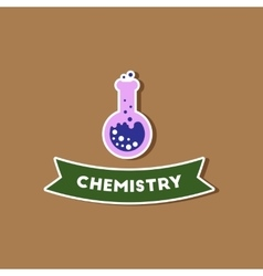 paper sticker on stylish background chemistry vector image vector image