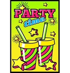 Party time comic style poster vector