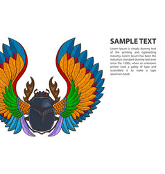 patterned scarab beetle on white background with vector image vector image