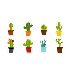 room cactus icon set flat style vector image