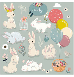 Set of cute hares with balloons vector