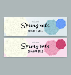 Spring sale flyer or voucher design set vector