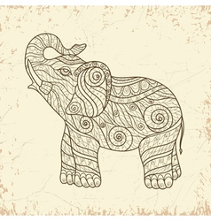 Stylized elephant in a graphic style zentangle vector