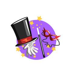 Symbols of the magician profession black top hat vector