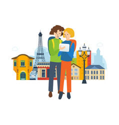 Travel to france explore the city navigation vector