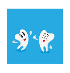 Two funny tooth characters looking pointing up vector