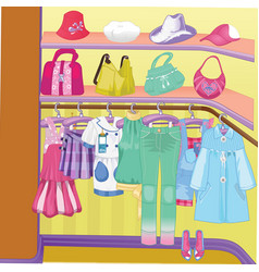wardrobe for cloths closet with clothes bags vector image vector image