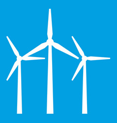 Wind turbines icon white vector