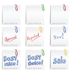Resolutions wrote by hand on stickers vector