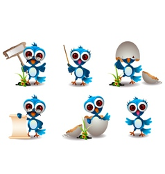Cute blue bird cartoon set vector
