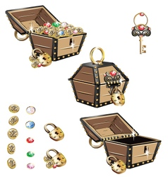 Treasure chest set vector