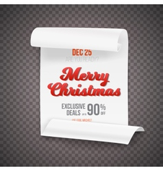 Marry christmas scroll banner template vector