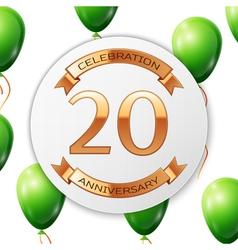 Golden number twenty years anniversary celebration vector