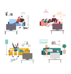 set of a couple watches tv flat colorful vector image