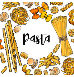 Banner framed with uncooked italian pasta with vector