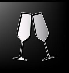 Sparkling champagne glasses gray 3d vector